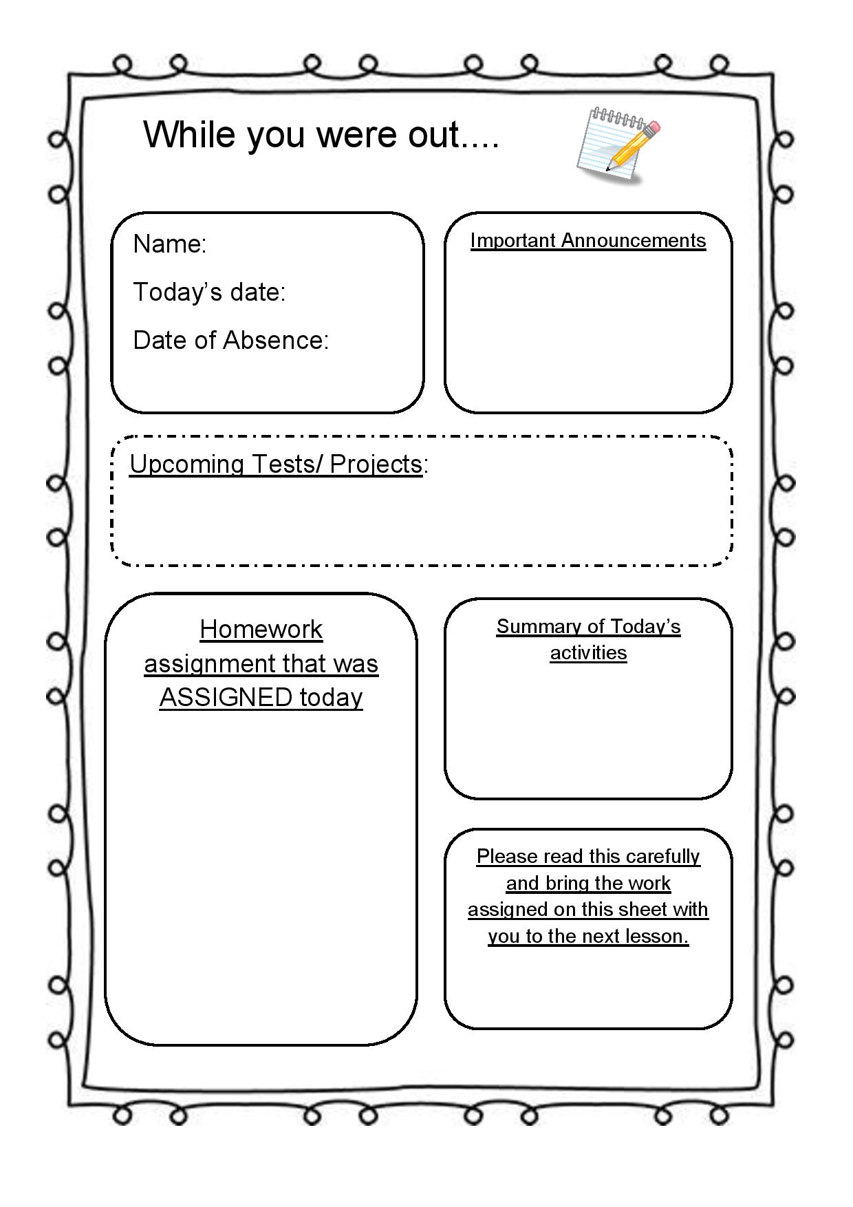 student aside mission sheet