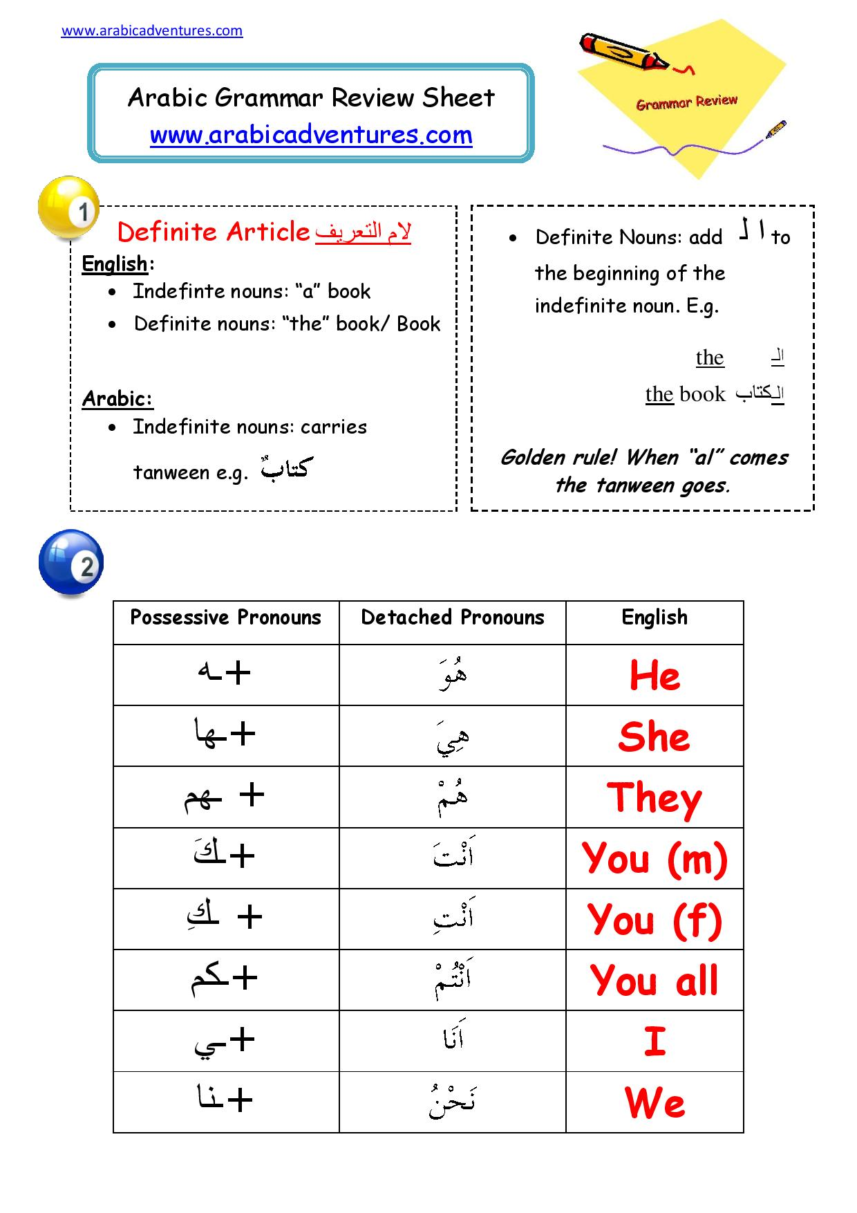 arabic grammar review sheet arabic adventures. Black Bedroom Furniture Sets. Home Design Ideas