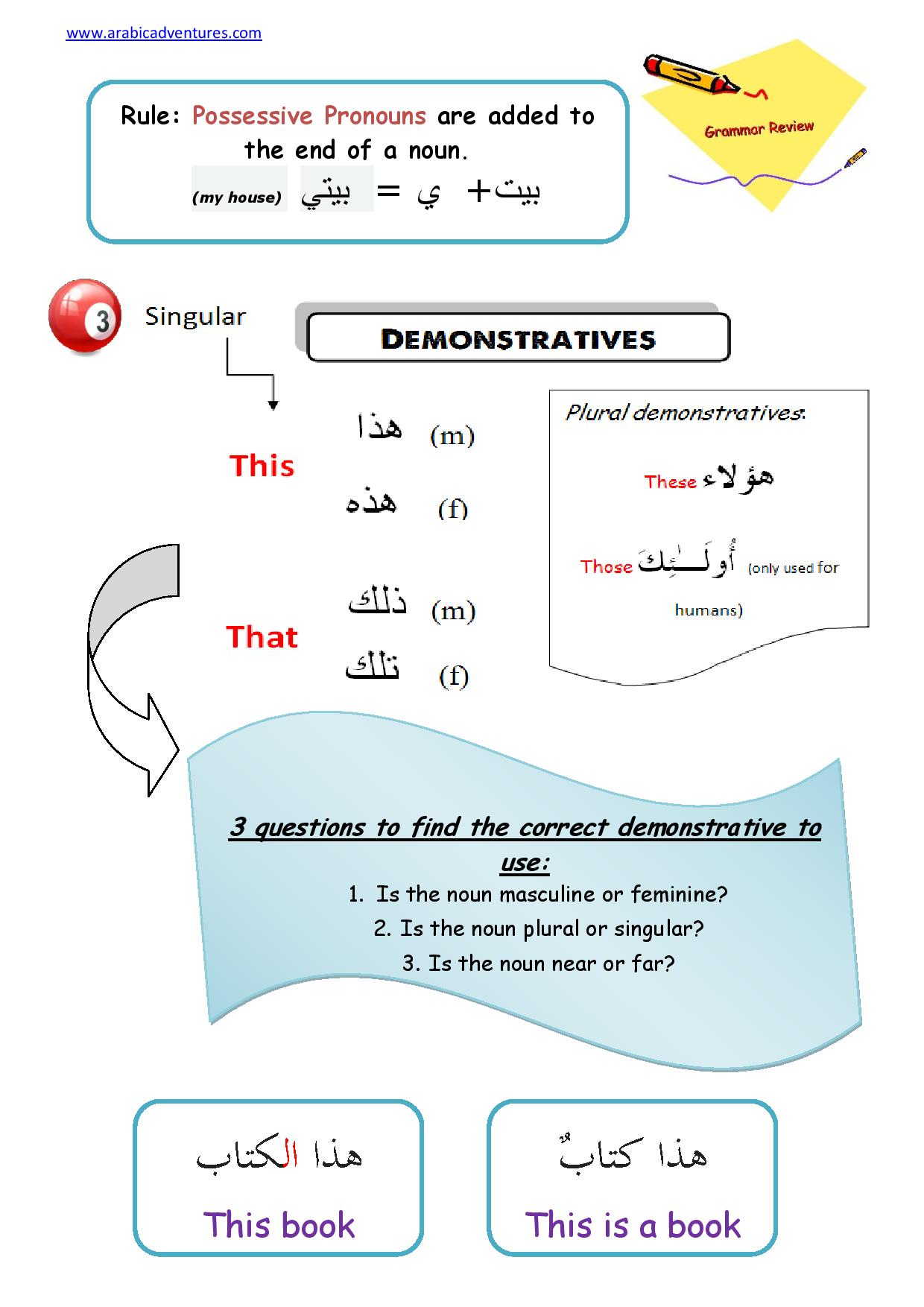 arabic pronouns : Arabic Adventures