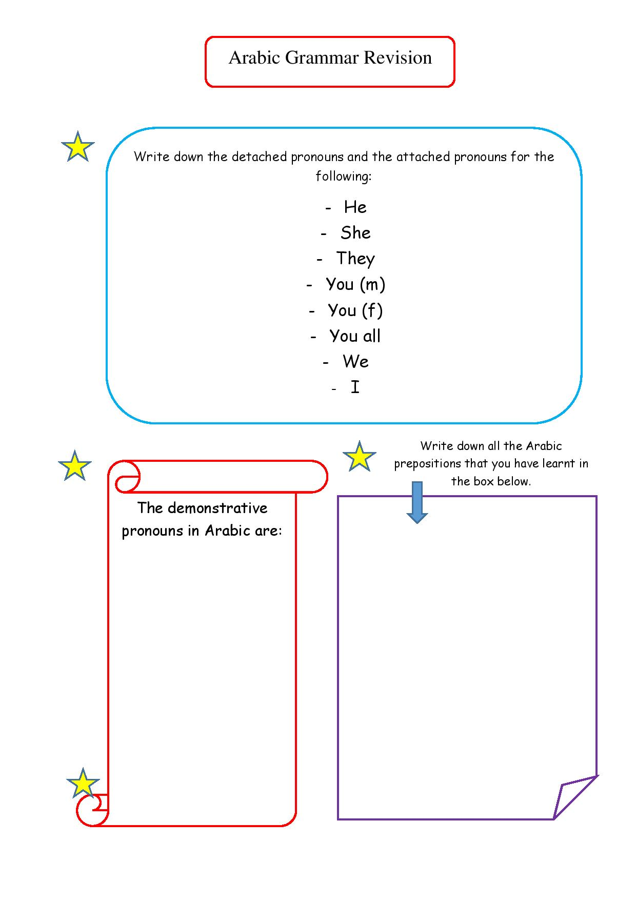 Arabic worksheets Arabic Adventures – Grammar Review Worksheets