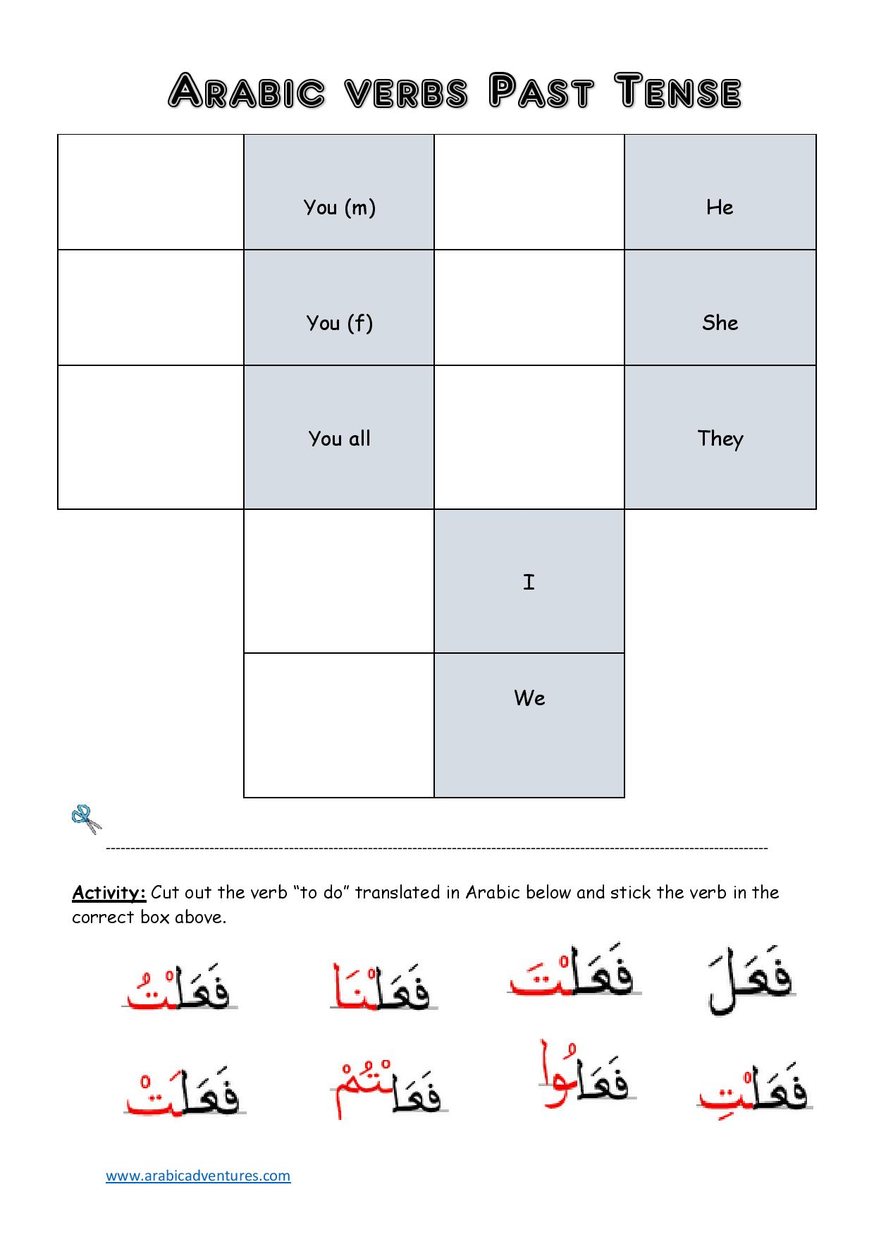 arabic-past-tense-box-page-001 Verb Tense Cut And Paste Worksheet on cut and paste vocabulary, cut and paste number, cut and paste synonyms, cut and paste antonyms, cut and paste homophones, cut and paste adverbs, cut and paste possessive nouns, cut and paste author's purpose, cut and paste syllables, cut and paste character, cut and paste editing, cut and paste capitalization,