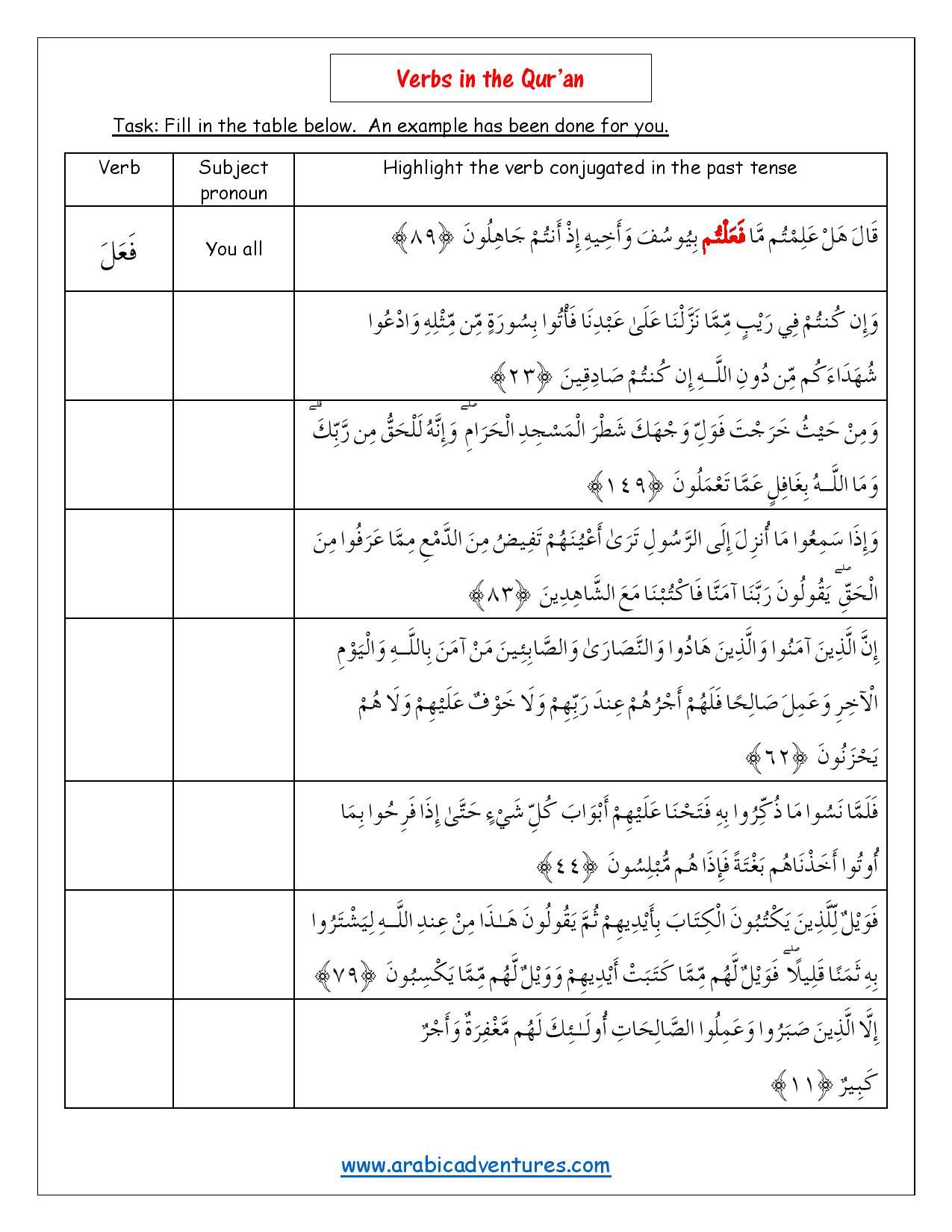 Arabic Verbs in the past tense – Identifying Verbs Worksheet